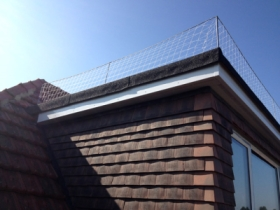 Bird netting installed on the flat roof of a house.